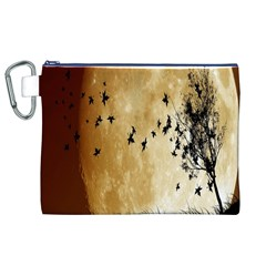 Birds Sky Planet Moon Shadow Canvas Cosmetic Bag (XL)