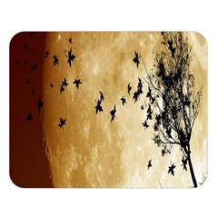 Birds Sky Planet Moon Shadow Double Sided Flano Blanket (large)