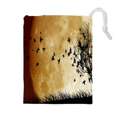 Birds Sky Planet Moon Shadow Drawstring Pouches (Extra Large)