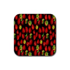 Berry Strawberry Many Rubber Square Coaster (4 Pack)