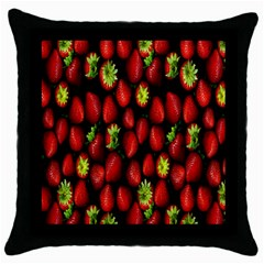 Berry Strawberry Many Throw Pillow Case (Black)