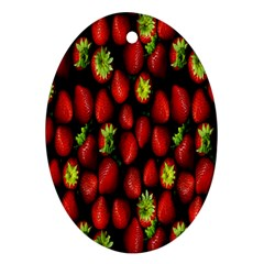 Berry Strawberry Many Oval Ornament (Two Sides)