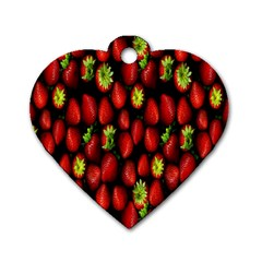 Berry Strawberry Many Dog Tag Heart (one Side)