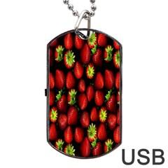 Berry Strawberry Many Dog Tag USB Flash (One Side)