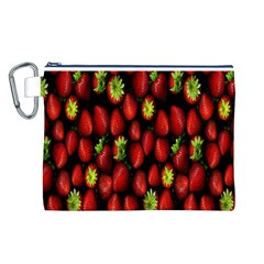 Berry Strawberry Many Canvas Cosmetic Bag (L)
