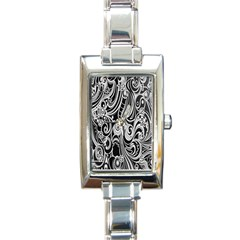 Black White Pattern Shape Patterns Rectangle Italian Charm Watch