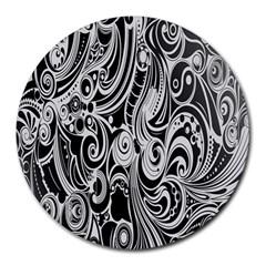 Black White Pattern Shape Patterns Round Mousepads