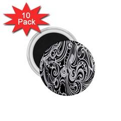 Black White Pattern Shape Patterns 1.75  Magnets (10 pack)