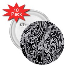 Black White Pattern Shape Patterns 2.25  Buttons (10 pack)