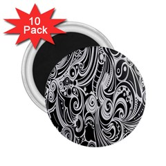 Black White Pattern Shape Patterns 2.25  Magnets (10 pack)