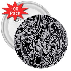 Black White Pattern Shape Patterns 3  Buttons (100 Pack)