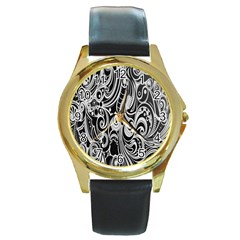 Black White Pattern Shape Patterns Round Gold Metal Watch