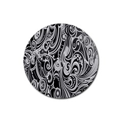 Black White Pattern Shape Patterns Rubber Round Coaster (4 pack)