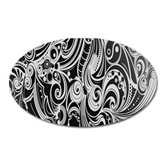 Black White Pattern Shape Patterns Oval Magnet