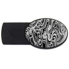 Black White Pattern Shape Patterns USB Flash Drive Oval (2 GB)
