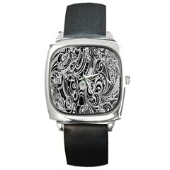 Black White Pattern Shape Patterns Square Metal Watch