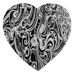 Black White Pattern Shape Patterns Jigsaw Puzzle (Heart)