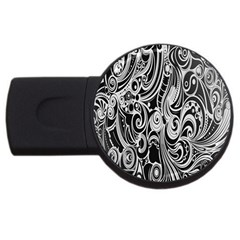 Black White Pattern Shape Patterns USB Flash Drive Round (4 GB)