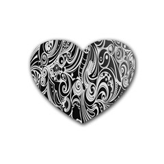 Black White Pattern Shape Patterns Rubber Coaster (Heart)