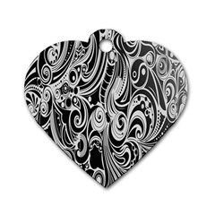 Black White Pattern Shape Patterns Dog Tag Heart (one Side)