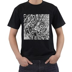 Black White Pattern Shape Patterns Men s T Shirt (black)
