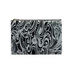 Black White Pattern Shape Patterns Cosmetic Bag (medium)