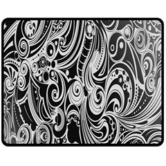 Black White Pattern Shape Patterns Fleece Blanket (medium)