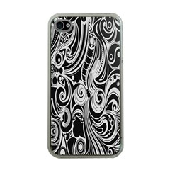 Black White Pattern Shape Patterns Apple Iphone 4 Case (clear)