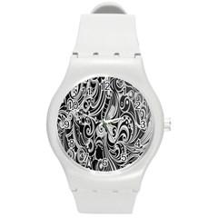 Black White Pattern Shape Patterns Round Plastic Sport Watch (m)