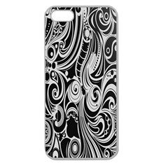Black White Pattern Shape Patterns Apple Seamless iPhone 5 Case (Clear)