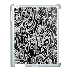 Black White Pattern Shape Patterns Apple iPad 3/4 Case (White)