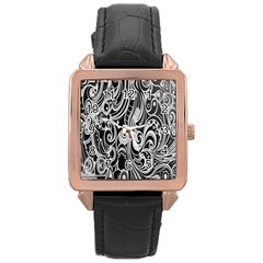 Black White Pattern Shape Patterns Rose Gold Leather Watch