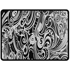 Black White Pattern Shape Patterns Double Sided Fleece Blanket (Large)
