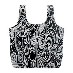 Black White Pattern Shape Patterns Full Print Recycle Bags (l)