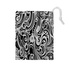Black White Pattern Shape Patterns Drawstring Pouches (Large)