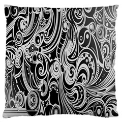 Black White Pattern Shape Patterns Large Flano Cushion Case (Two Sides)