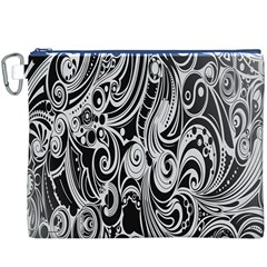 Black White Pattern Shape Patterns Canvas Cosmetic Bag (XXXL)
