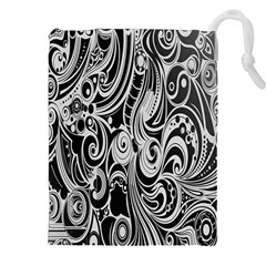 Black White Pattern Shape Patterns Drawstring Pouches (xxl)