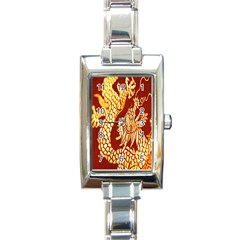 Fabric Pattern Dragon Embroidery Texture Rectangle Italian Charm Watch
