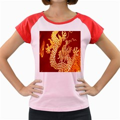 Fabric Pattern Dragon Embroidery Texture Women s Cap Sleeve T-Shirt