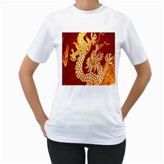 Fabric Pattern Dragon Embroidery Texture Women s T-Shirt (White) (Two Sided)