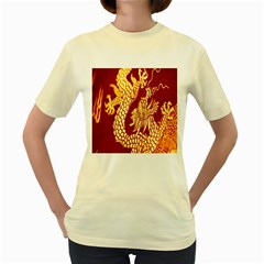 Fabric Pattern Dragon Embroidery Texture Women s Yellow T-Shirt