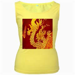 Fabric Pattern Dragon Embroidery Texture Women s Yellow Tank Top