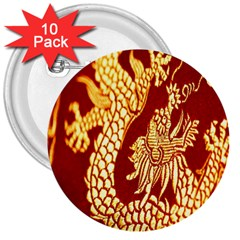 Fabric Pattern Dragon Embroidery Texture 3  Buttons (10 Pack)