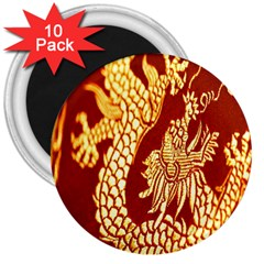 Fabric Pattern Dragon Embroidery Texture 3  Magnets (10 pack)