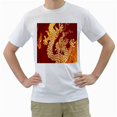 Fabric Pattern Dragon Embroidery Texture Men s T-Shirt (White) (Two Sided)