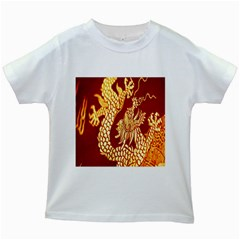 Fabric Pattern Dragon Embroidery Texture Kids White T-Shirts
