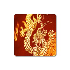 Fabric Pattern Dragon Embroidery Texture Square Magnet