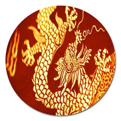 Fabric Pattern Dragon Embroidery Texture Magnet 5  (Round)