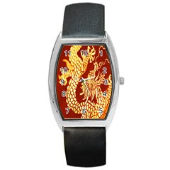 Fabric Pattern Dragon Embroidery Texture Barrel Style Metal Watch
